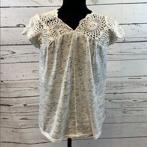 Sundance White Burnout Top with Crochet Accents S
